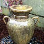 www.LiquidArtFountains.com Handles Pottery, Rust Glaze