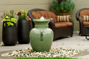 www.LiquidArtFountains.com Handles Pottery, Oil Green