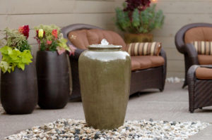 "www.LiquidArtFountains.com Tall Jar 32"" Pottery"