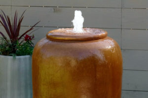 "www.LiquidArtFountains.com Tall Jar 42"" Pottery"