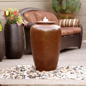 "www.LiquidArtFountains.com Tall Jar 32"" Pottery"